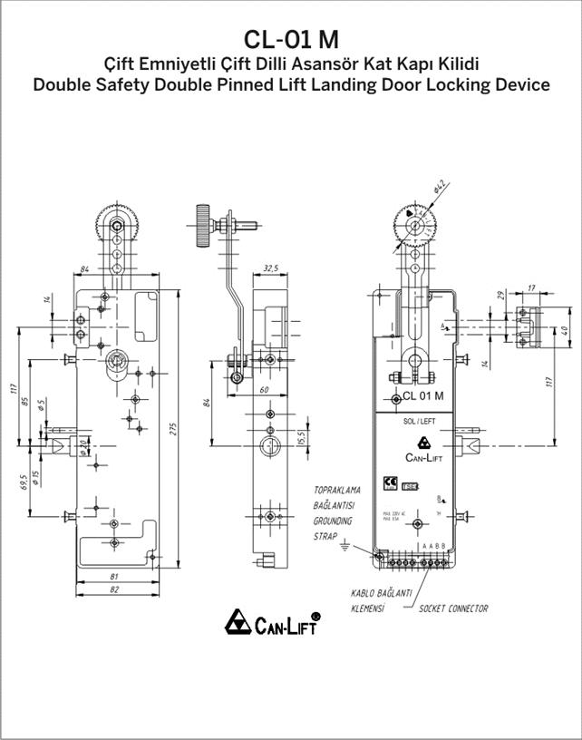 CL-01 M Elevator Single Wing Floor Door Lock